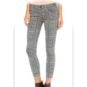 Free People Patterned Skinny Crop Jeans